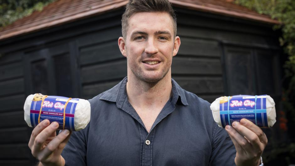 Dave McSharry, former Connacht rugby player, with a couple of samples of his Hot Chip Cookies. Photo: Fergal Phillips