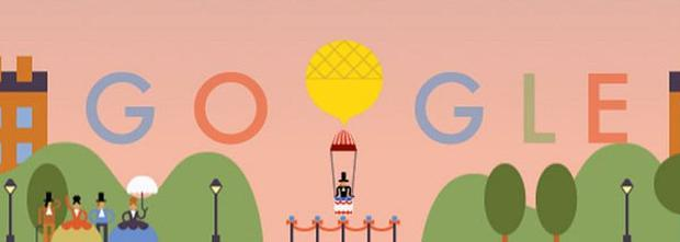 A google doodle is celebrating the anniversary of the first parachute jump