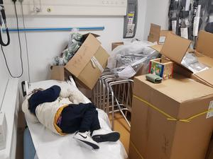 The boy at Tallaght hospital surrounded by boxes