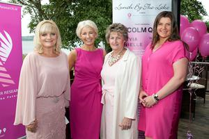 Dympna Cunniffe, organiser, Sharon Bannerton, Ballinasloe; Marion Donaghue, organiser and Tina McNabola of Colm Quinn, sponsor supporting 'Breast Cancer Research' at 'Lunch by the Lake' in Wineport Lodge, Athlone