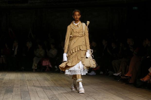 Turning heads: A model presents a creation during the Simone Rocha catwalk show at London Fashion Week. Photo: REUTERS/Henry Nicholls