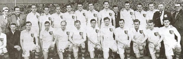 Mayo's 1951 All-Ireland winning team, with Paddy Prendergast third from right in the front row.