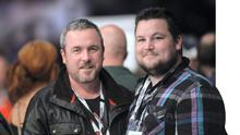 Love/Hate creator Stuart Carolan, left and Love/Hate actor John Connors at the 3 Arena at the weekend. Photo: Caroline Quinn