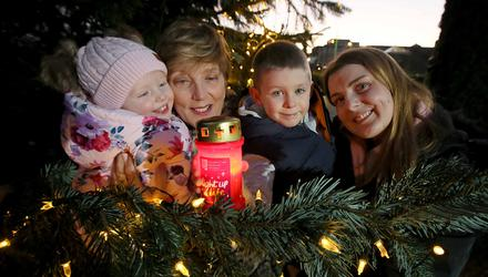 Pictured supporting Light Up A Life, the annual Christmas appeal at Our Lady's Hospice & Care Services in Harold's Cross are three generations lighting a light in memory of John and Maureen O'Neill, who both died in the care of OLH&CS, Sheena Gordon (left), Aisling Gordon, James (5) and Ava Gordon (2). Photo: Mark Stedman