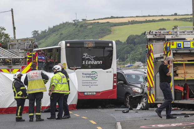 The scene of a fatal road collision where a bus collided with a number of cars in Monkstown, Cork Harbour. Photo: Daragh Mc Sweeney/Provision