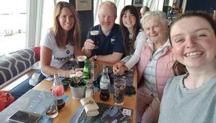 Derval, Finbarr, Caroline, Ethna, Ciara - the last family get-together in 2019, in memory of her father Kevin.