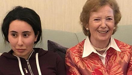 Controversy: Princess Latifa and former President of Ireland Mary Robinson at their meeting in Dubai in December