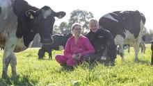 Peter and Paula Hynes pictured with the award on their farm Aherla, Co. Cork.  Picture: Clare Keogh