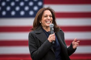 Kamala Harris at a campaign event in Detroit yesterday