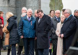 Former Taoiseach Brian Cowen and former Minister for Finance Charlie McCreevy at the funeral mass of former secretary general at the Department of Foreign Affairs Dermot Gallagher in the Holy Trinity Church Ratoath. Photo :Mark Condren
