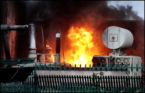 The scene of the fire at the ESB substation in Bluebell. Photo: Steve Humphreys