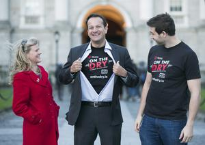 Health Minister Leo Varadkar (centre) with Leinster rugby star Kevin McLaughlin and RTE weather presenter Nuala Carey at the launch of 'On the Dry', aimed at encouraging people who have given up drink for January to pass on the proceeds to the Irish Heart Foundation. Photo: Photocall