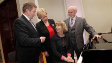 Taoiseach Enda Kenny, Arts Minister Heather Humphreys, the Vanbrugh Quartet's Gregory Ellis and RTÉ's Aine Lawlor open the refurbished Kevin Barry Recital Rooms in the NCH. Photocall Ireland