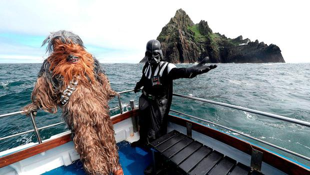 Star Wars characters at Skellig Micheal off the coast of Kerry in previous years. Picture: PA