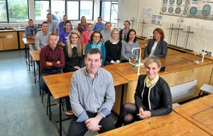Science fair co-ordinator Sean Holly and deputy principal Kathleen O'Brien pictured with teaching staff in Kinsale Community School, Cork. Picture: Provision