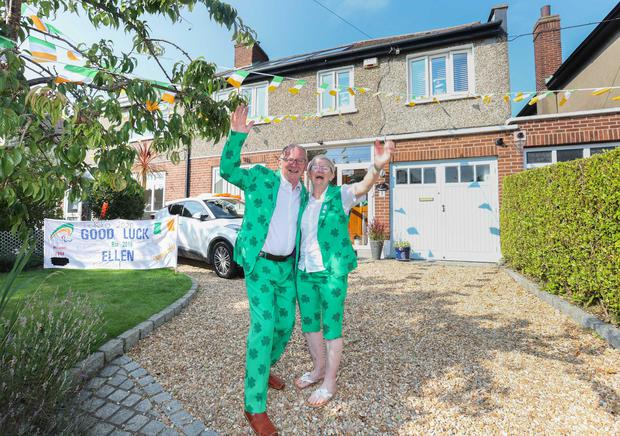Ellen Keane's proud parents Eddie and Laura celebrating outside their home in Clontarf. Photo: Sam Boal/Rolling News.ie