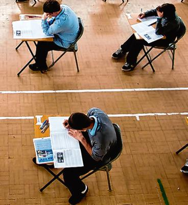 Spacing: Students will need to sit well apart if exams eventually go ahead. Stock picture