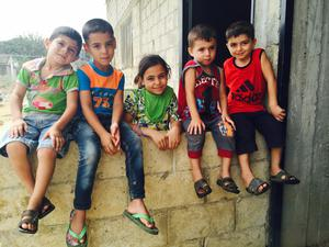 Children at the camp in Akkar in northern Lebanon