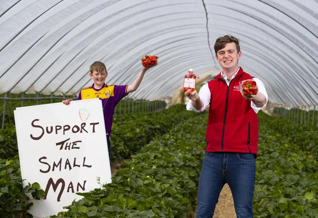 Mark Kavanagh, from Davidstown, Co Wexford, with his strawberry vodka and his younger brother Ben (13) holding one of the signs. Photo: Patrick Browne