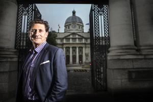 OUTLIER: Eamon Ryan outside Government Buildings on Friday.  Photo: David Conachy