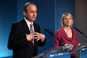 Micheal Martin TD, Leader of Fianna F‡il Averil Power, Spokesperson on Political Reform, during a press conference on Political Reform at Fianna Fail's Election HQ, Dublin