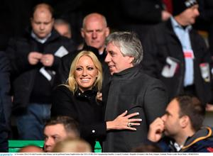 FAI chief Executive John Delaney and his girlfriend Emma English before the match. Photo: David Maher/Sportsfile
