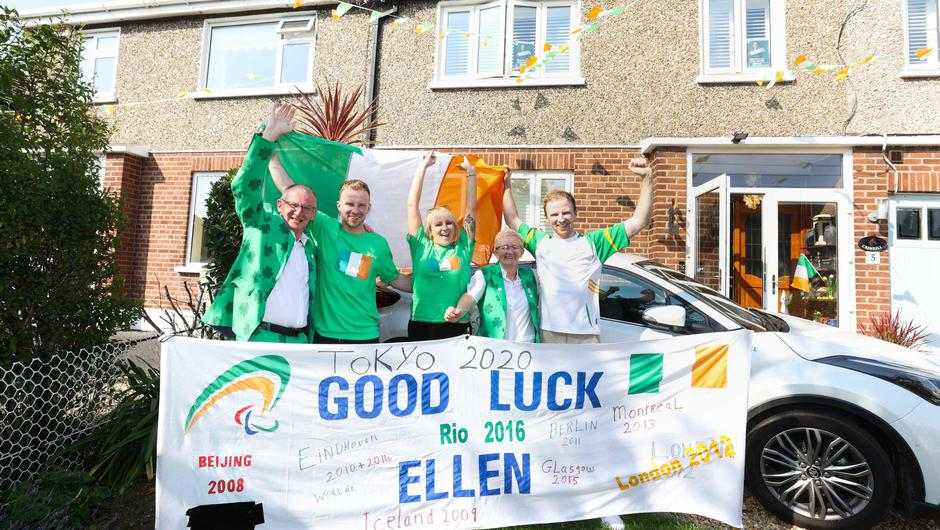 Ellen's family celebrating outside their home in Clontarf: (l to r) Eddie, Philip, Hazel, Laura and Graham. Photo: Sam Boal/Rolling News.ie