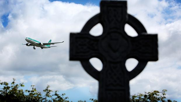 The remains of Olivia Burke arrive into Dublin Airport aboard an Aer Lingus flight yesterday