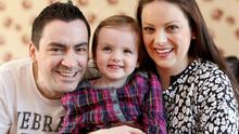 Paul Wynne with his wife Ciara and daughter Ella (2). Photo: Gerry Mooney