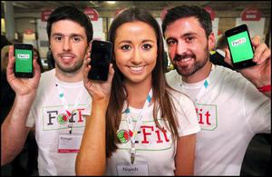 Ronan, Niamh and Niall McDermott with their ForFit app which allows you to challenge friends to get Fit or Forfit at the Web Summit yesterday. Photo: Steve Humphreys