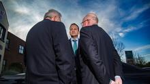 Taoiseach Leo Varadkar chats with Minister for Justcie Charlie Flanagan and Fergus O'Dowd at LMFM radio station in Drogheda. Pic:Mark Condren