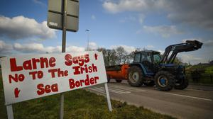A sign opposing the border checks at Larne. Photo: Reuters/Clodagh Kilcoyne