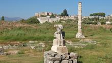 The remains of the Temple of Artemis outside the ancient city of Ephesus near Kusadasi