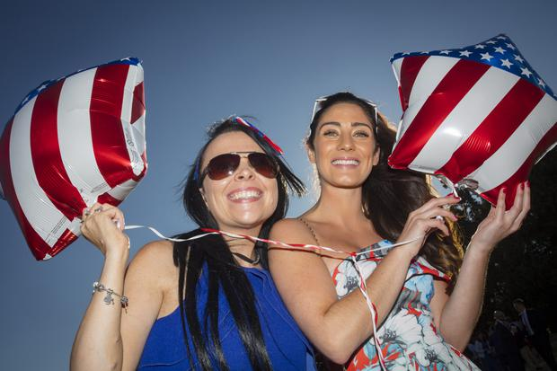 A proper party: Jamie Cahill from Tallaght and Alison Reddy from Knocklyon at the US Independence Day celebrations in the Phoenix Park. Photo: Arthur Carron