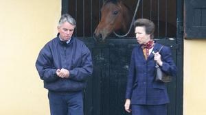 Britain's Princess Anne on a visit toClonshire Stud in recent yearswith owner Bryan Murphy. Photo:Liam Burke/Press 22