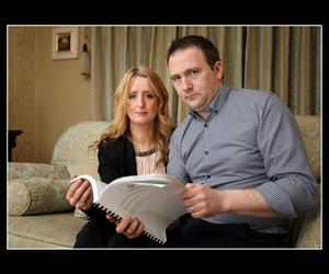 Roisin and Mark Molloy, who lost their baby son Mark within 22 minutes of his birth at Portlaoise Hospital three years ago