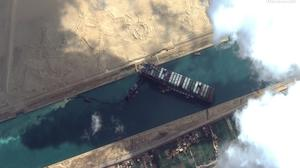 The 400m-long 'Ever Given' container ship blocks the Suez Canal, which links the Red Sea with the Mediterranean, in this satellite image taken on Friday. Photo: Maxar Technologies/Reuters