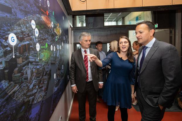 Provost of Trinity College Dublin, Dr Patrick Prendergast; Iseult Ward, Co-Founder and CEO FoodCloud and Taoiseach Leo Varadkar; at the Grand Canal Innovation District launch.