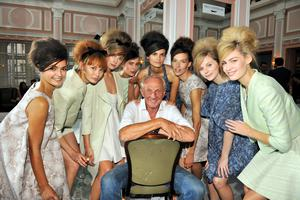 Fashion designer Paul Costelloe with his models at his show at London Fashion Week yesterday. Photo: Tim Griffiths.