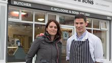 Cllr Niamh Kennedy with butcher Johnny McLoone. Photo: North West Newspix