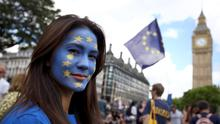 A woman takes part in a protest against Britain's decision to leave the European Union. Photo: Reuters
