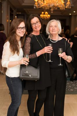 Isobel & Caroline Flood with Phyllis Maguire pictured at The Daughterhood Supper in The Westbury Hotel. Photo: Anthony Woods