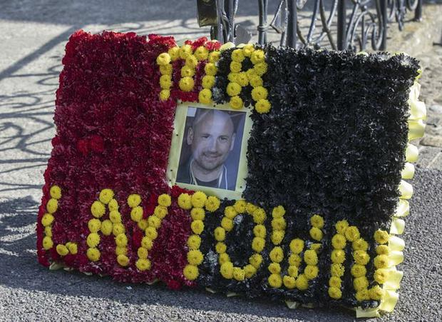 A floral wreath for David Conroy at his funeral, Sacred Heart Church, Laytown, Co. Meath. PIC: Conor O'Mearain / Collins