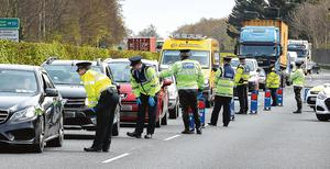 Waiting in line: A checkpoint on the N3 at Clonee, ahead of the Easter weekend. photo: Frank McGrath
