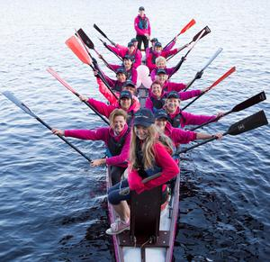 Honourary Plurabelle Dragon boat drummer Lauren Thirroueiz (10) from Sandymount leads the beat as members of the Plurabelle Paddlers, Irelands first breast cancer dragon boat team, train in a 'pinked' boat at a 'pinked' lock at Grand Canal Dock.