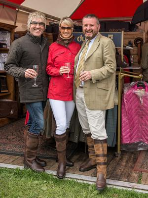 Paul Corson (right) of Dubarrys with Most Stylish Couple Eva Hayes Morrissey and her husband Paul, at Tattersalls. Photo: Moncie Evans