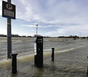 Flooded car park overlooking Dublin Bay at Clontarf. Photo: Steve Humphreys