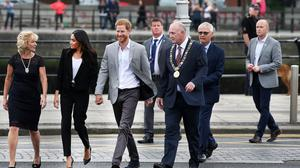 VISIT: Harry and Meghan in Dublin in July 2018 with, front right, Nial Ring, who was then Dublin Lord Mayor. Photo: Steve Humphreys