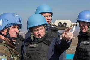 Taoiseach Enda Kenny arrives in Camp Ziouani in the Golan Heights. Photo: Mark Condren