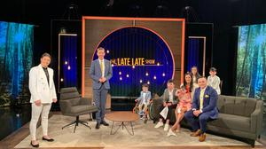 Adam and his family with Katie Taylor and Ryan Tubridy on the set of the Late Late Show. Photo: RTÉ.